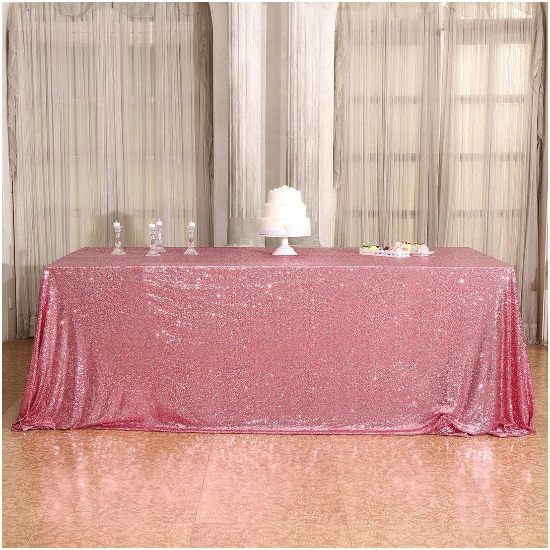 Poise3EHome 50×80'' Rectangle Deluxe Sequin Party for Cak Tablecloth Dedication