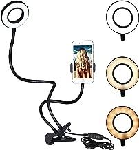 [Lengthened] Phone Holder with Selfie Ring Light: Honsky Dimmable [3-Light Mode] [10-Level Brightness] Gooseneck Cellphone Stand, Lazy Mount, for Live Stream, Vlogging, Makeup, Video, YouTube, Black