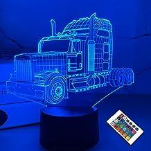 Nachtlichter für Kinder Grosser Truck LWK 3D Nachtlicht Nachttischlampe Auto 16 Farben Wechsel mit Fernbedienung Beste Geb...