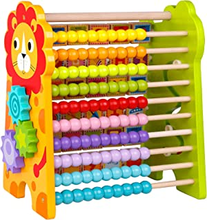 TOYSTER'S Wooden Math Beads and Alphabet Abacus | Add and Subtract Activity Center for Kids | Adorable Colorful Educational Toy | Wood Mathematical Counting Frame and ABC Learning Game