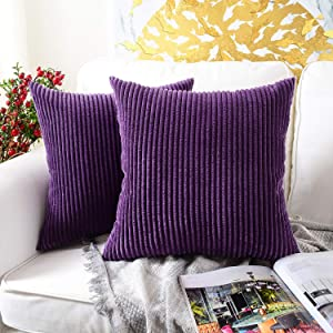 MERNETTE Pack of 2, Corduroy Soft Decorative Square Throw Pillow Cover Cushion Covers Pillowcase, Home Decor Decorations for Sofa Couch Bed Chair 18x18 Inch/45x45 cm (Striped Dark Purple)