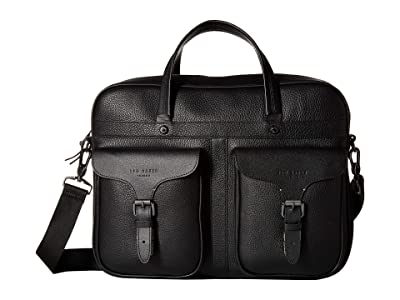 Ted Baker Forsee Fashion Leather Document Bag (Black) Briefcase Bags
