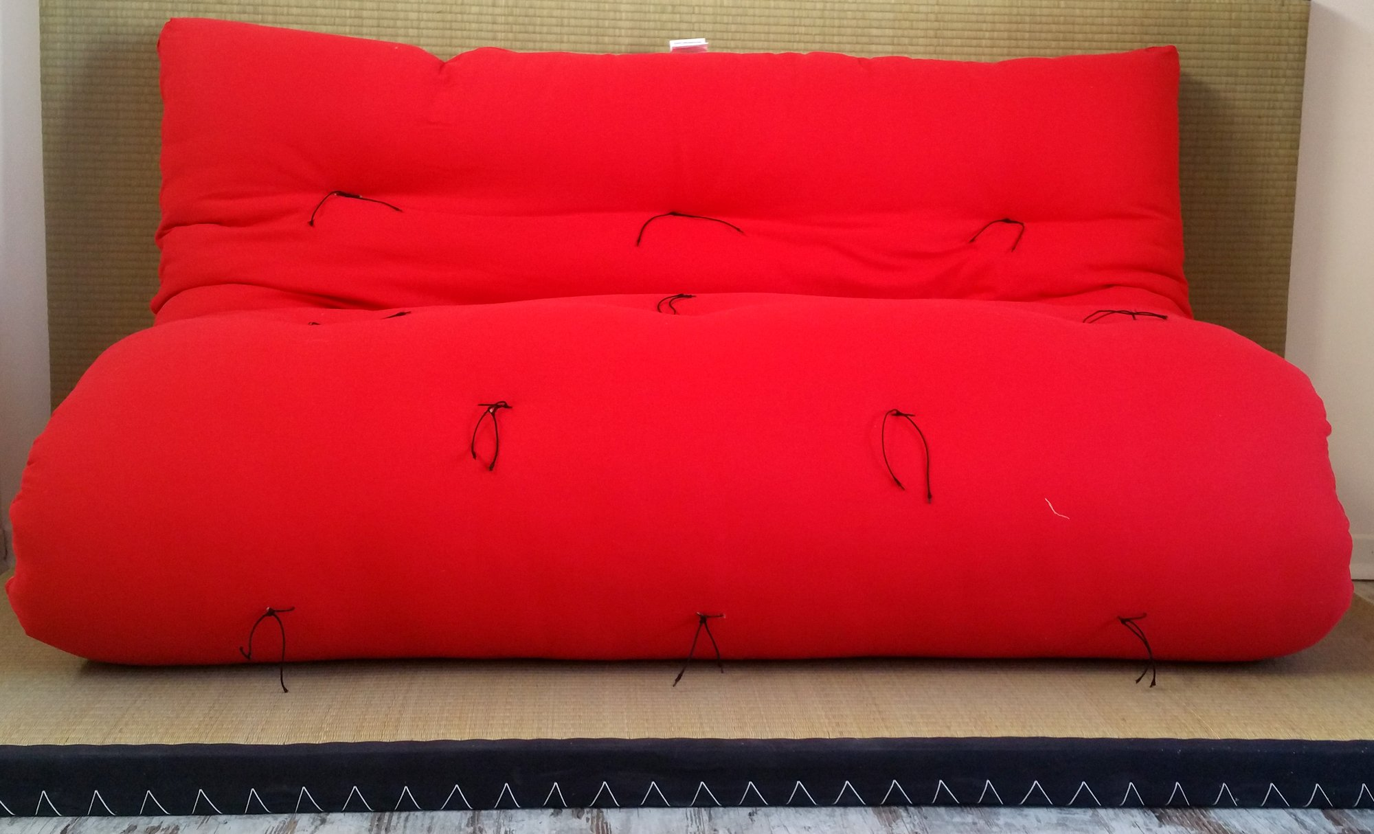 Sofá cama futón doble cara base tatami colores rojo/naranja medida futón 140 x 200 cm: Amazon.es: Hogar