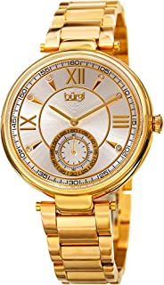 Burgi Women's Swarovski Crystals Watch - Engraved Concentric Circles on Dial with Second Subdial on Stainless-Steel Strap - BUR175