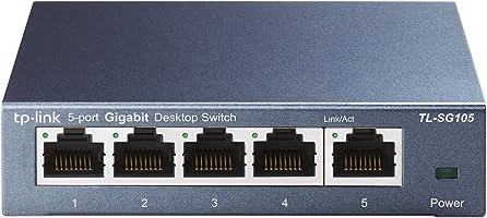 TP-Link TL-SG105 5-Ports Gigabit Netzwerk Switch (bis 2000 MBit/s im Vollduplexmodus, geschirmte RJ-45 Ports,...