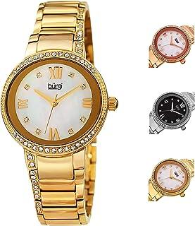 ساعة كوارتز للنساء بشاشة عرض انالوج وسوار ستانلس ستيل من بورغي، طراز Bur187Yg، سوار باللون الذهبي
