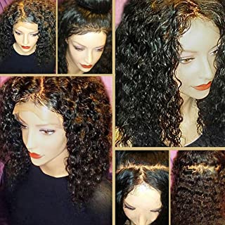 JYZ Hair 360 Lace Frontal Wig with BaBy Hair Pre-Plucked Natural Hairline Brazilian Virgin Hair 180% Density Curly Hair 360 Lace Wig for Black Women(16inch Free Part)