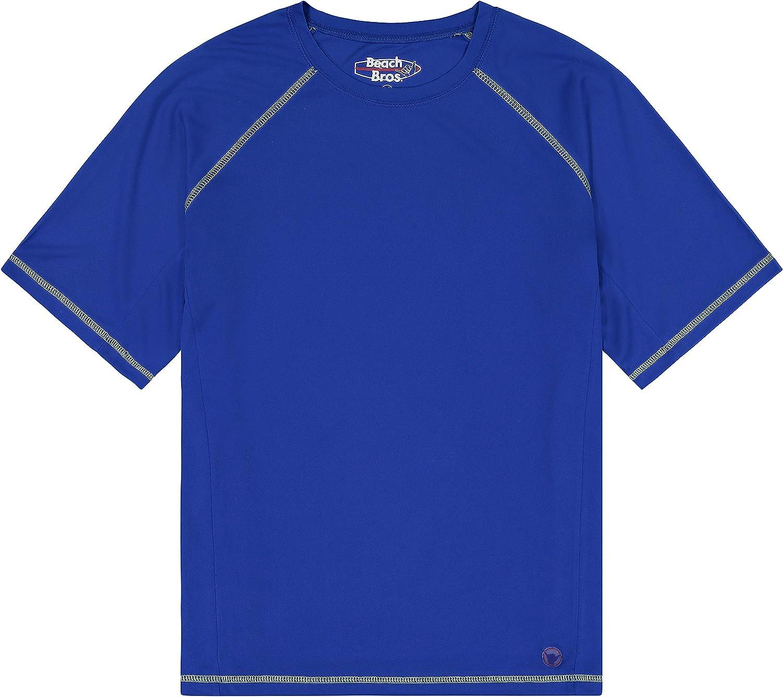 Beach Bros. Men's UPF 50+ Swim Shirt - Short Sleeve Quick Dry Rashguard