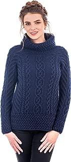SAOL Women's 100% Merino Wool Fisherman Funnel Neck Cable Knit Long Loose Fit Sweater Knitwear