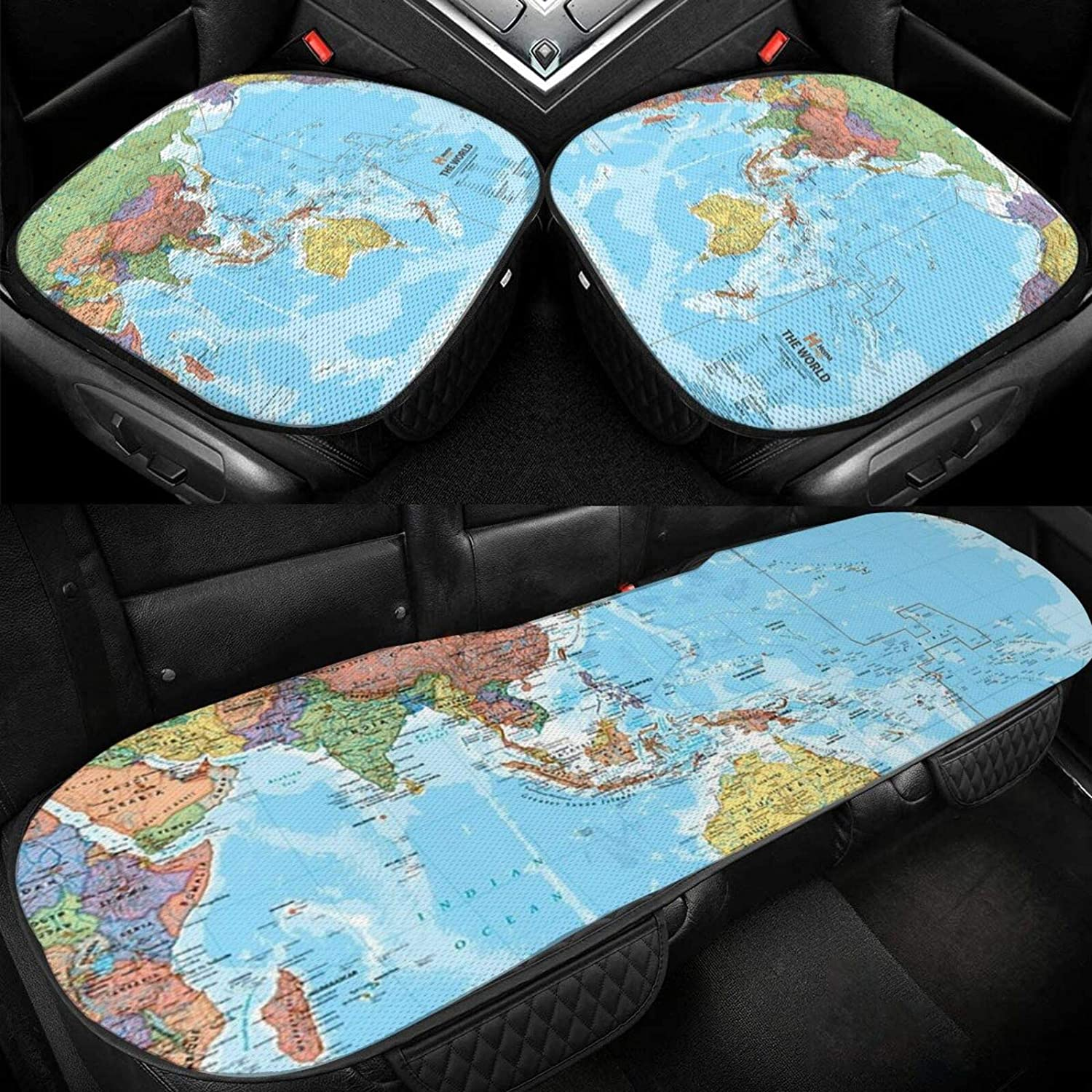 Car Seat Cushion Covers Nippon regular agency World-Map Cash special price Men Wome Cover Bottom for