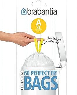 Brabantia Smartfix Bin Liners, Size A, 3 Litre, 60 Bag Dispenser Pack