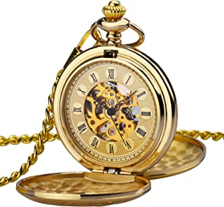 Men Women Full Double Hunter Steampunk Mechanical Pocket Watch with Chain