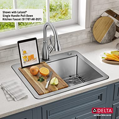 DELTA 95A932-25S-SS Lorelai Workstation Kitchen Sink Drop-in Top Mount Stainless Steel Single Bowl with WorkFlow Ledge and Ch