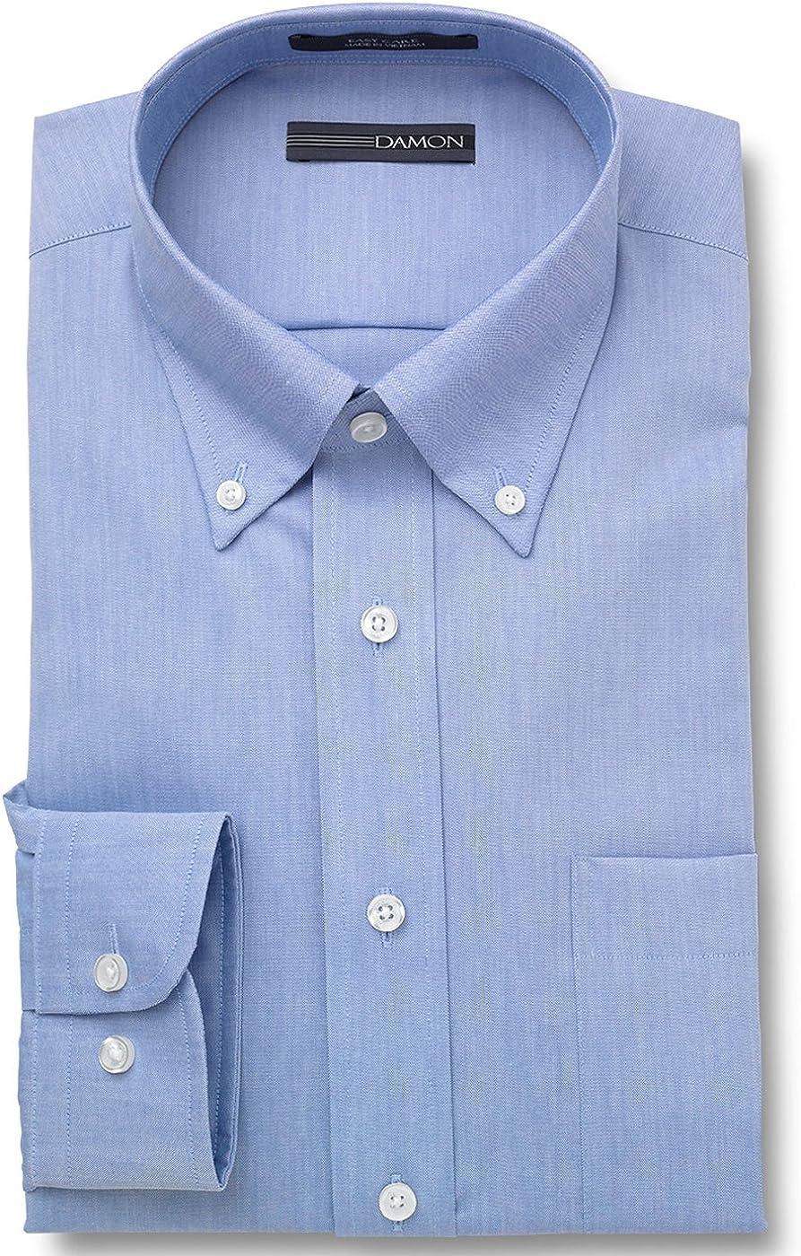 Damon Pinpoint Oxford Button Down Collar Dress Shirt (Light Blue, 15.5 32/33)