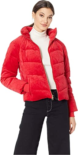 Track Velour Solid Quilted Puffer Jacket