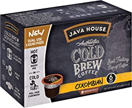 Java House Cold Brew Coffee, Colombian, Medium Roast, 6 Liquid Pods (Pack of 2)