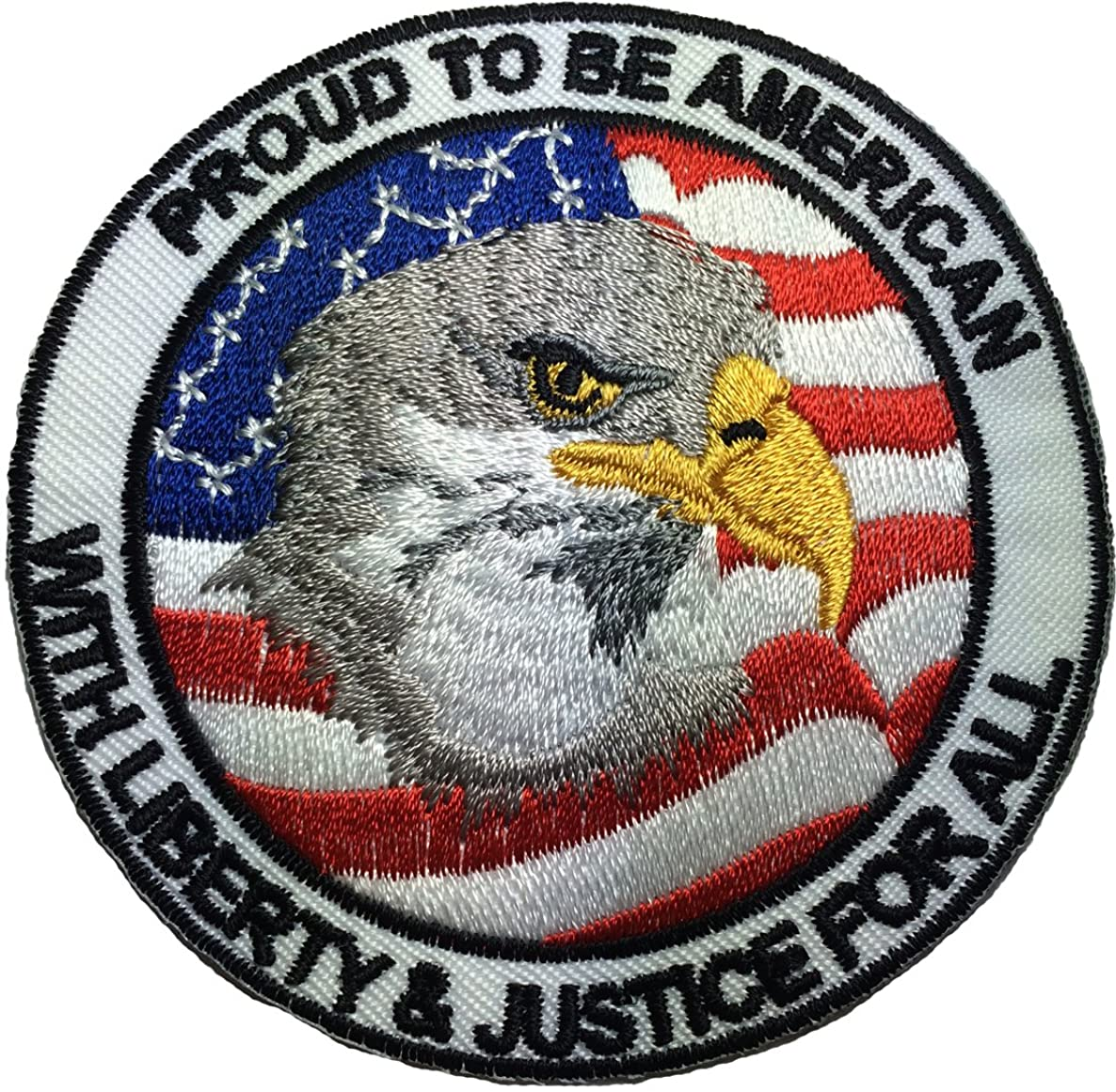 Proud to be American - with Liberty and Justice for all - Eagle with USA Flag Sewing Iron on Embroidered Patch (IRON-PROUD)