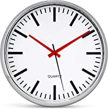 Bernhard Products Metallic Wall Clock 13 Inch Analog Silent Quartz Battery Operated Non-Ticking Quartz Battery Operated Ro...