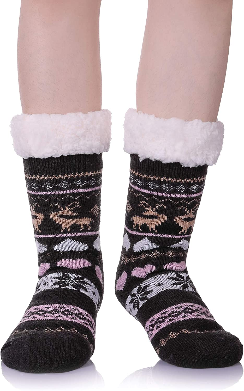 Women Slipper Socks Super Soft Fleece-lined Warm Cozy Home Socks for Winter Indoor