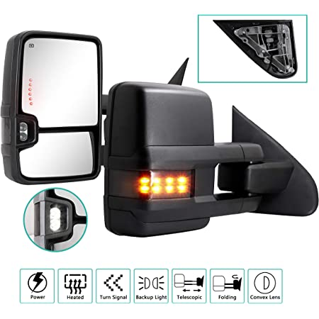 ECCPP Compatible fit for 2014-2017 Chevy Silverado GMC Sierra Pickup Towing Mirrors Power Heated Signal Pair Set