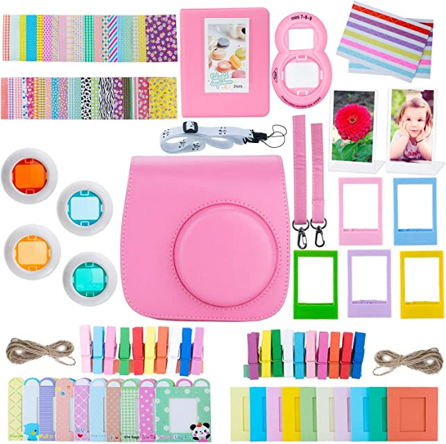 ZWOOS 12 en 1 Accesorios para Instax Mini 9/ Mini 8/ Mini 8+/ Mini 8S Cámara instantánea Incluida Funda para cámara/Lente Selfie/álbum/Pegatinas/Marcos/Filtros