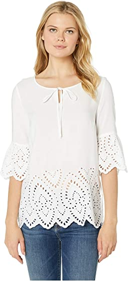 Woven Challis 3/4 Sleeve Embroidered Blouse with Tie
