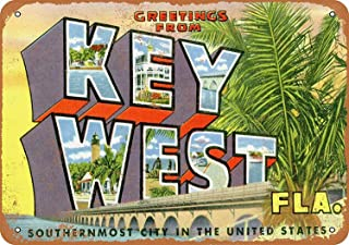 Joycenie Tin Sign New Aluminum Metal Sign Greetings from Key West 8x12 Inch