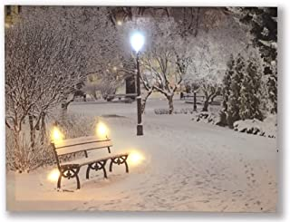 Hong Art-Stretched And Lighted Wall Art-Winter Snowy Scene With Street Lamp- Streetscape Photo Canvas Prints-Battery Operated for Christmas, New Year and Home Decoration-12x16 Inch HA-17-CP-054