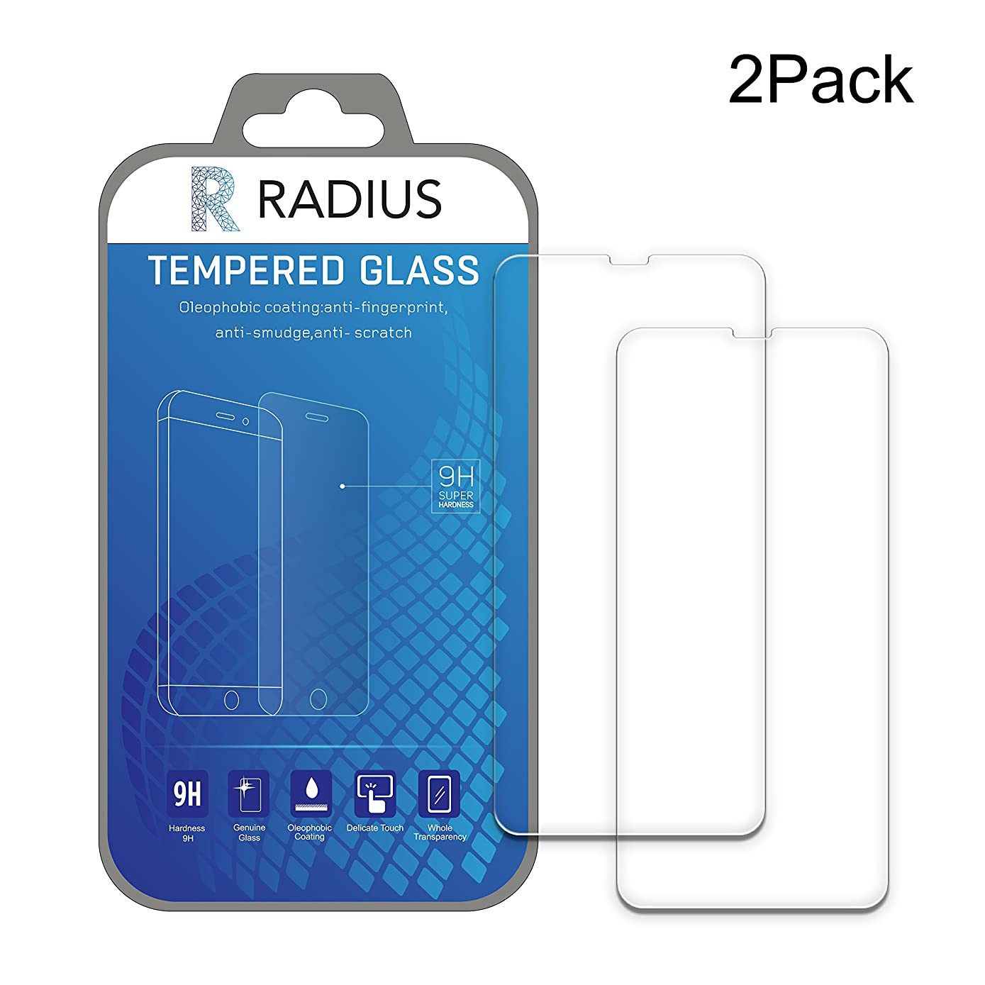 iPhone X Screen Protector [2-Pack] Radius, Tempered Glass 9H Hardness and Oleophobic Coating, Face ID and Touch ID Compatible