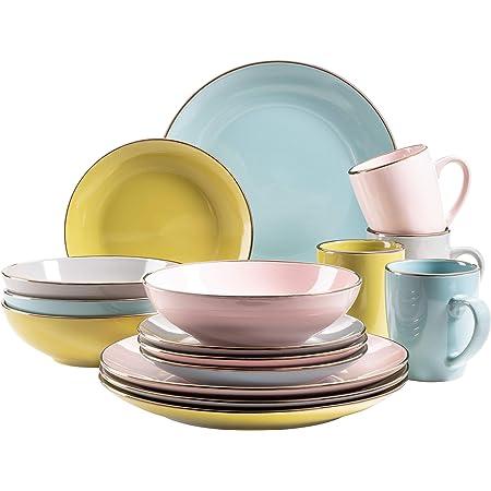 MÄSER 931726 Metallic Rim Service de table moderne pour 4 personnes avec bord argenté, 16 pièces avec formes de coupe sans bord, multicolore, grès