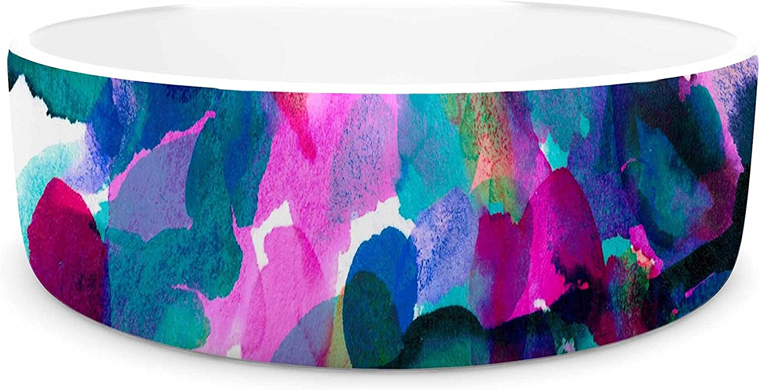 KESS InHouse EBI Emporium by Any Other Name 1  Magenta Teal Watercolor Pet Bowl, 7  Diameter