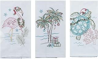 Kay Dee Designs Coastal Holiday Embroidered Flour Sack Towels - Flamingo, Palm Tree, and Sea Turtle - Set of 3 Designs