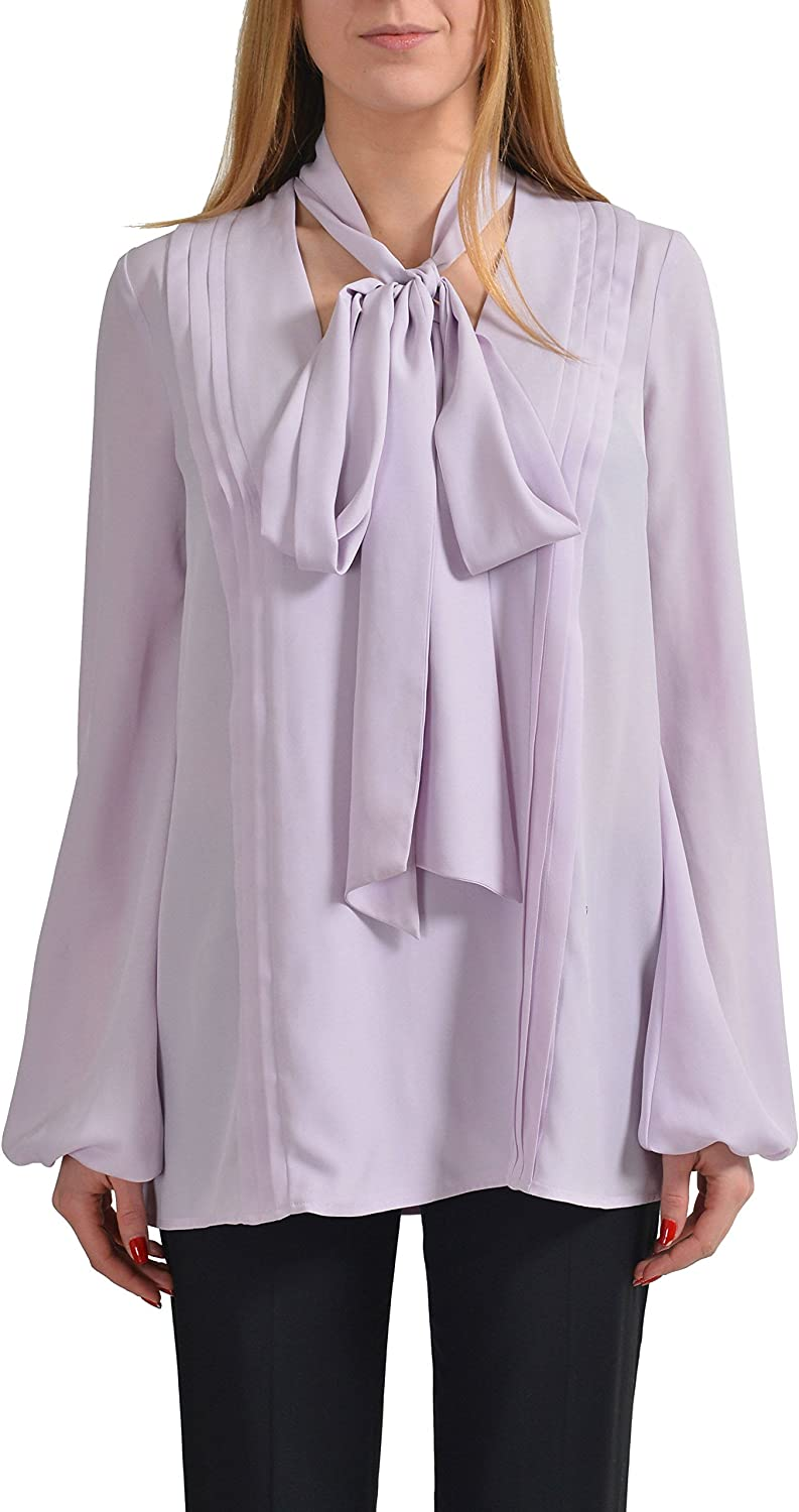 Just Cavalli Light Purple Loose Style Scarf Decorated Women's Blouse US S IT 40