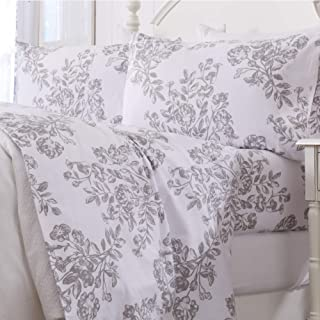 Extra Soft Toile 100% Turkish Cotton Flannel Sheet Set. Warm, Cozy, Luxury Winter Bed Sheets. Belle Collection (King, Grey)