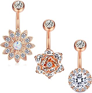 Jstyle 3Pcs 14G Stainless Steel Belly Button Rings Barbell Navel Rings Bar for Women CZ Flower Body Piercing
