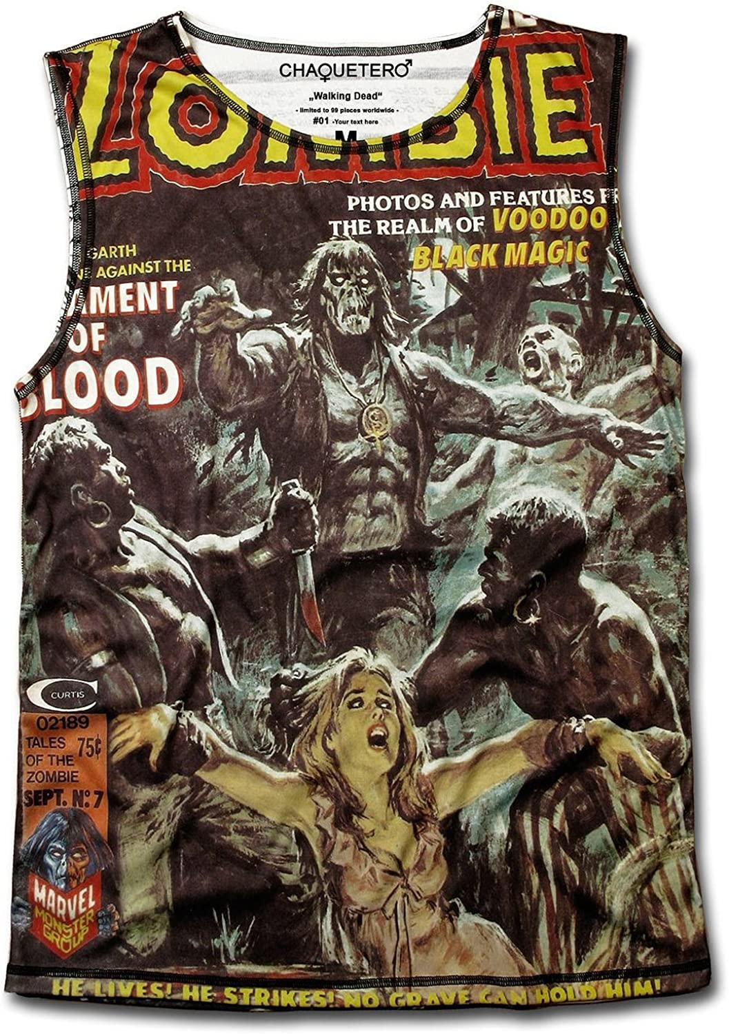 ChaqueZombie Walking Dead Scary Movie Men's Sleeveless Old School Comic Top
