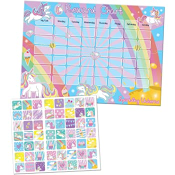 Paper Projects 01 70 30 018 Sparkling Unicorns Reward Chart And Reusable Stickers Amazon Co Uk Toys Games