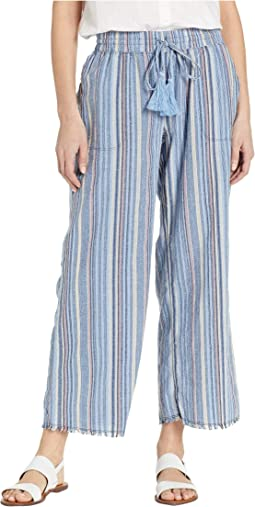 Cropped Fringe Hem Pants in Linen Stripe