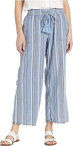 Cropped Fringe Hem Pants in Linen Stripe