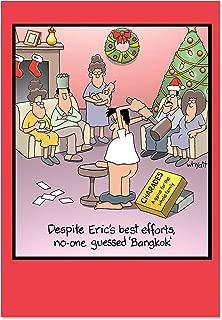 12 Boxed 'Bangkok Christmas' Holiday Notes with Envelopes, Dirty Jokes, Dirty Humor Family Game Night Merry Christmas Card, Happy Holidays with Dick Jokes B1689