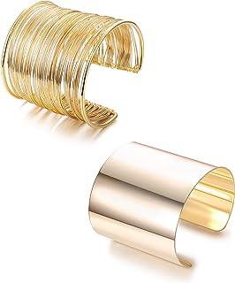 LOLIAS 2 Pcs Cuff Bangle Bracelet Set for Women Open Wide Wire Bracelets Adjustable Gold Plated
