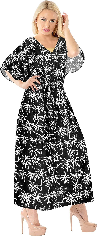 LA LEELA Women's One Size Kaftan Kimono Dresses Loungewear Cover Ups Drawstring