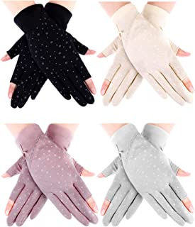 4 Pairs Women Sunblock Gloves Touchscreen Sun Protective Gloves UV Protection Driving Gloves for Summer Outdoor Activities...