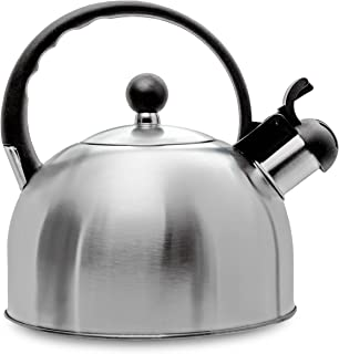 2.5 Liter Whistling Tea Kettle - Modern Stainless Steel Whistling Tea Pot for Stovetop with Cool Grip Ergonomic Handle - Stainless Steel - Other Colors Available