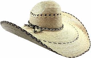 Western Peak Straw Gaucho Cowboy Ranch Hat with Longhorn Star Concho Weaved PU Leather Studded Band