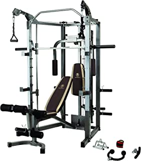 Marcy Smith Cage Machine with Workout Bench and Weight Bar Home Gym Equipment (Renewed)