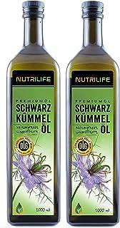 Nutrilife - Schwarzkümmelöl 2x1000ml - 100% pur, ungefiltert, kaltgepresst, vegan - Frischegarantie: täglich mühlenfrisch vom Hersteller aus echten ägyptischen Schwarzkümmelsamen
