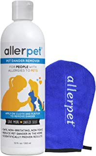 Allerpet Pet Allergy Relief - Best Dog & Cat Pet Dander Remover for Allergens + Works for Any Pet w/Fur or Feathers - 100% Non-Toxic & Safe for Pets + Bonus Applicator Mitt