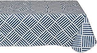"J & M Home Fashions Navy Grid Vinyl Tablecloth, 60"" x 102"""