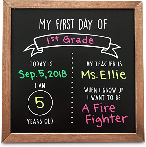 Olive Emma First Day Of School Reusable Chalkboard Sign 12 X 12 Wood Framed Chalkboard Back To School Photo Prop Board